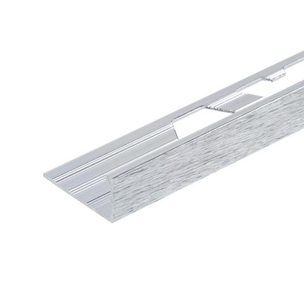 Aluminium Brushed Chrome Straight Edge Tile Trim
