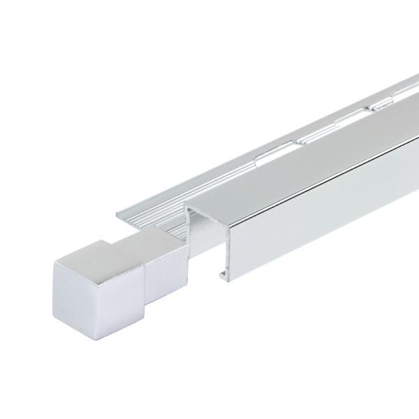 Aluminium Chrome Square Box Section Tile Trim