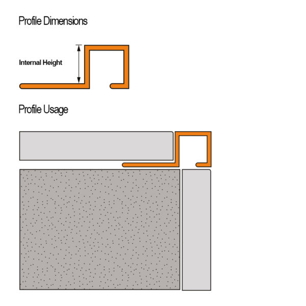 Aluminium Chrome Square Box Section Tile Trim - Cross Section