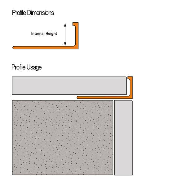 Aluminium Square Edge Tile Trim - Cross Section
