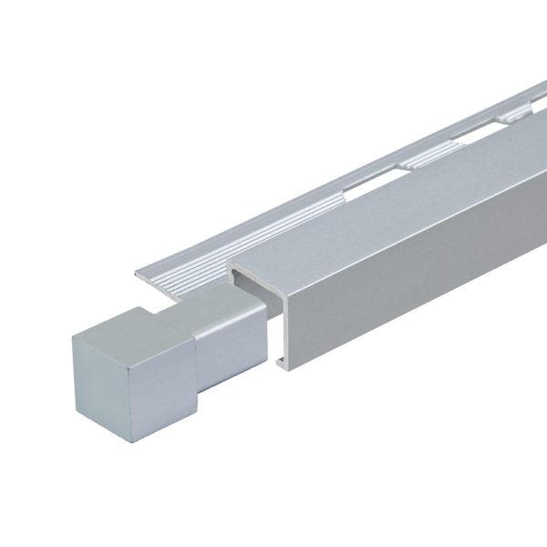 Aluminium Matt Anodised Square Box Section Tile Trim