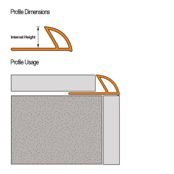 Aluminium Round Edge Tile Trim - Cross Section