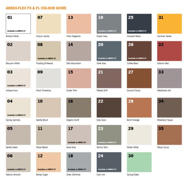 Ardex-Flex FS & FL Grout Colour Chart