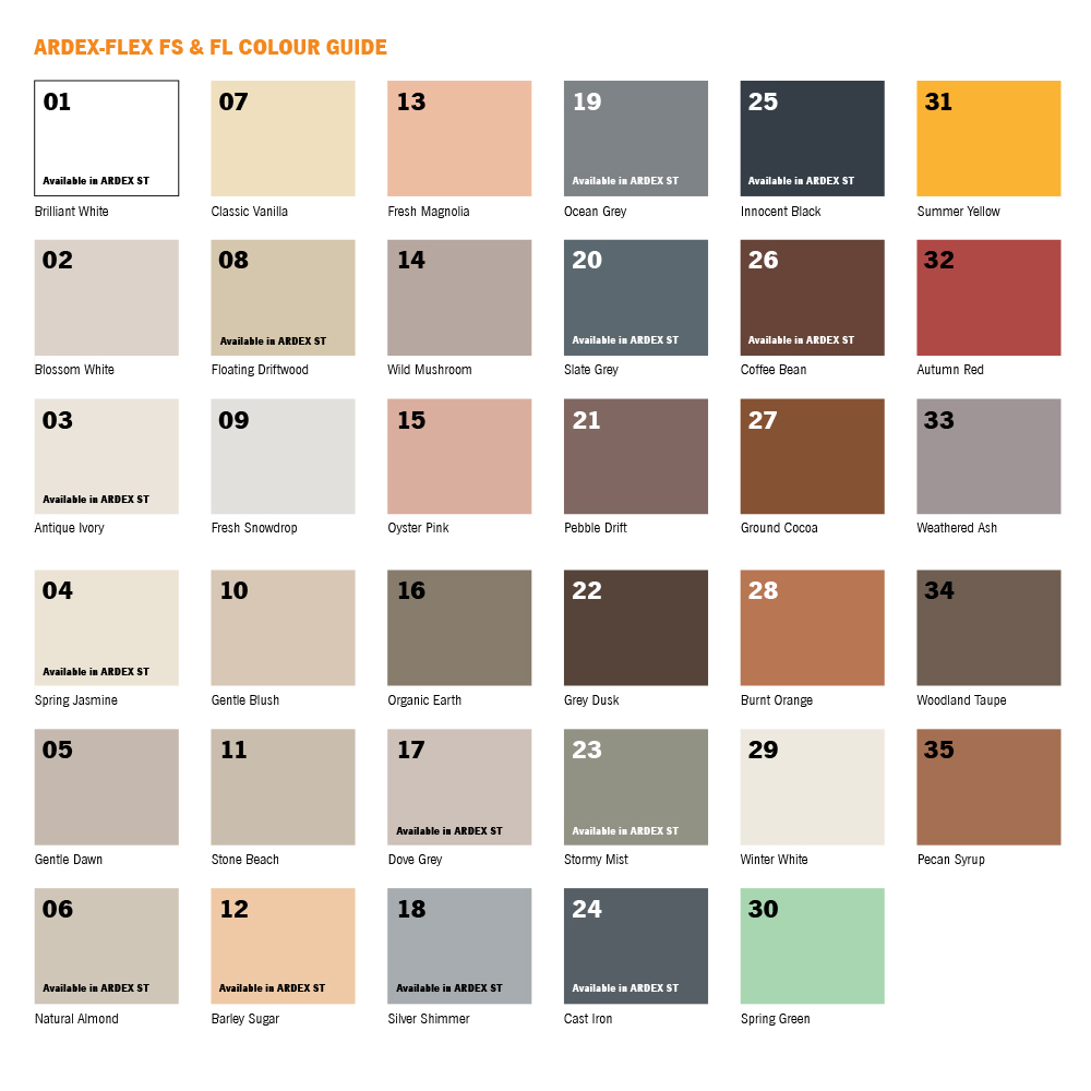 Ardex Colour Chart