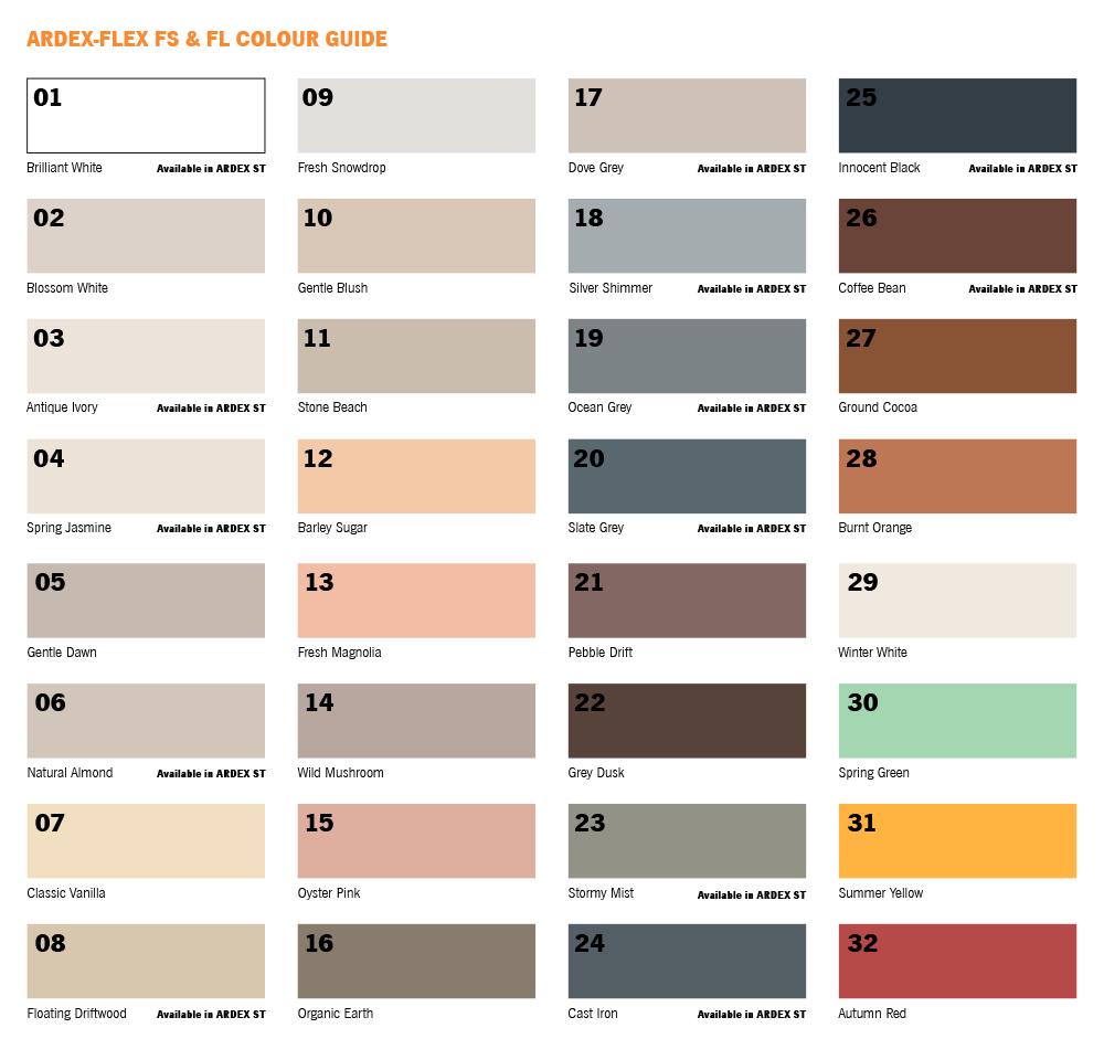 Ardex Colour Chart