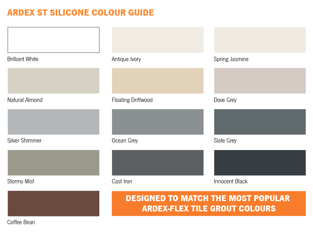 Ardex ST Silicone Colour Chart
