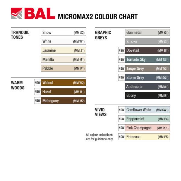BAL Micromax2 Grout Colour Chart