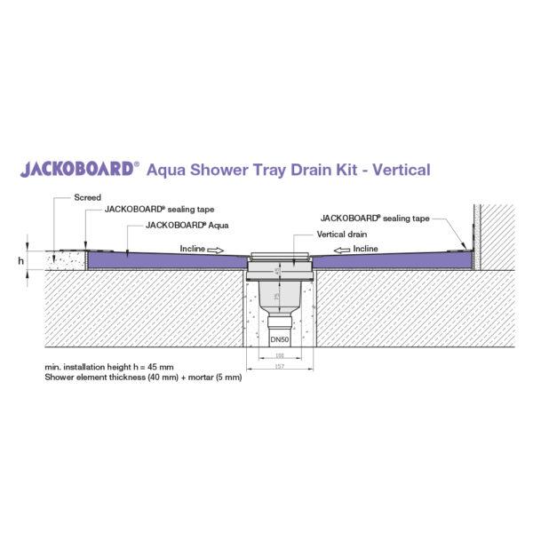 JACKOBOARD Aqua Shower Drain Kit - Vertical, Cross Section