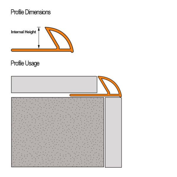 PVC Round Edge Tile Trim Cross Section