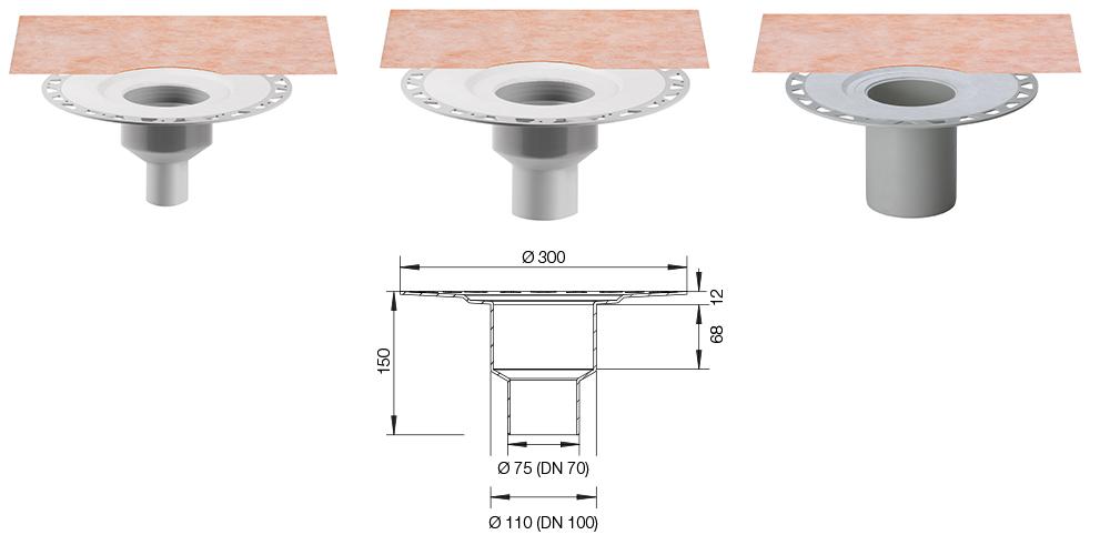 Schluter KERDI DRAIN KDBV50/70/100 - Cross Section