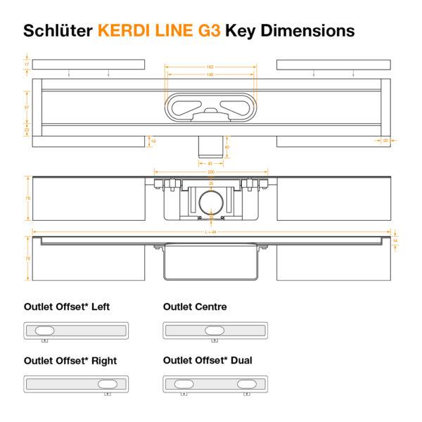 Schluter KERDI LINE G3 Linear Drain - Dimensions