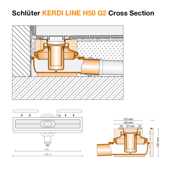 Schluter KERDI LINE H50 G2 Linear Drain - Cross Section