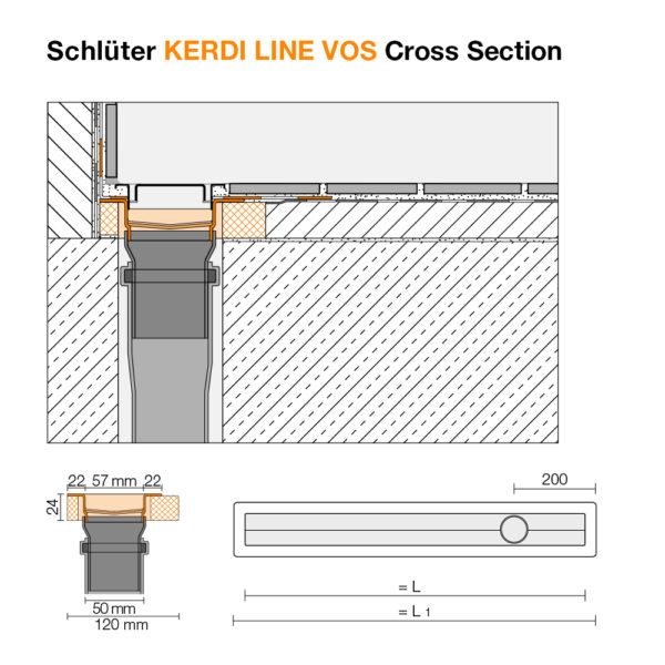 Schluter KERDI LINE VOS Linear Drain - Cross Section
