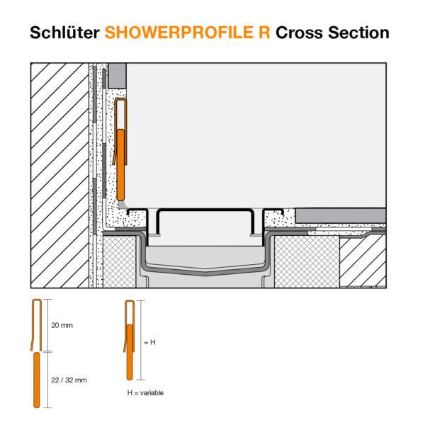 Schluter SHOWERPROFILE R Transition Tile Trim - Cross Section