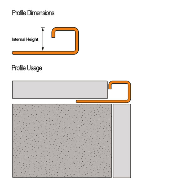 Stainless Steel Square Box Section Tile Trim - Cross Section