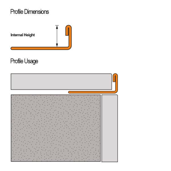 Stainless Steel Straight Edge Tile Trim - Cross Section