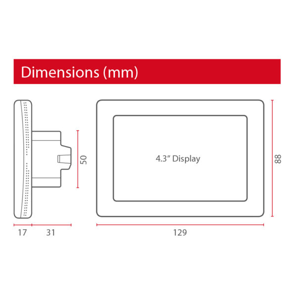 ThermoSphere Dual Control Thermostat - Dimensions