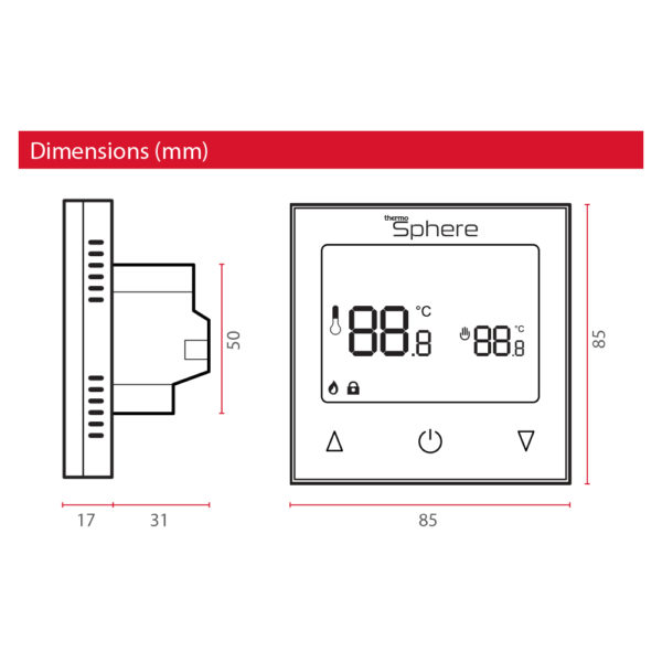 ThermoSphere Manual Thermostat - Dimensions