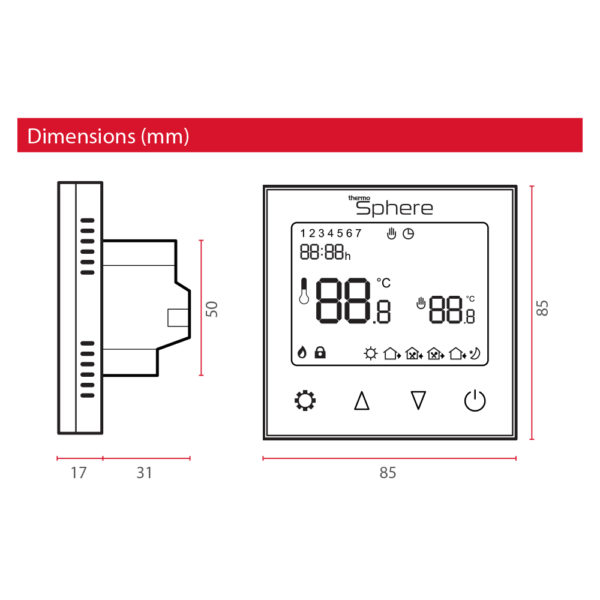ThermoSphere Programmable WiFi Thermostat - Dimensions