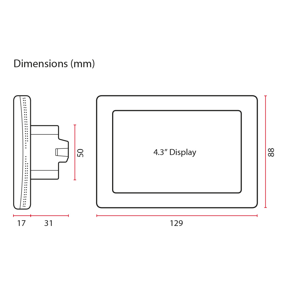 Thermotouch 4.3dC Dual Control WiFi Thermostat - Dimensions